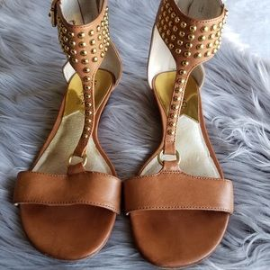 Michael Kors Tan and Gold Studded Sandals